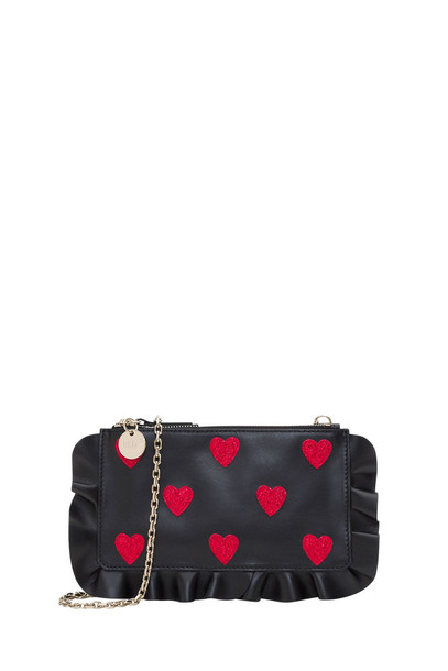 RED Valentino Crossbody Clutch With Hearts in nero