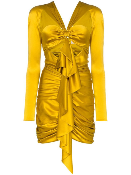 Alexandre Vauthier Ruffled Front Mini-Dress in gold