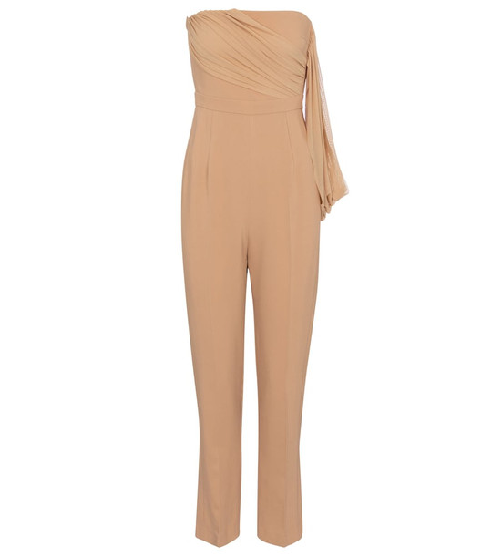David Koma Strapless cady jumpsuit in beige