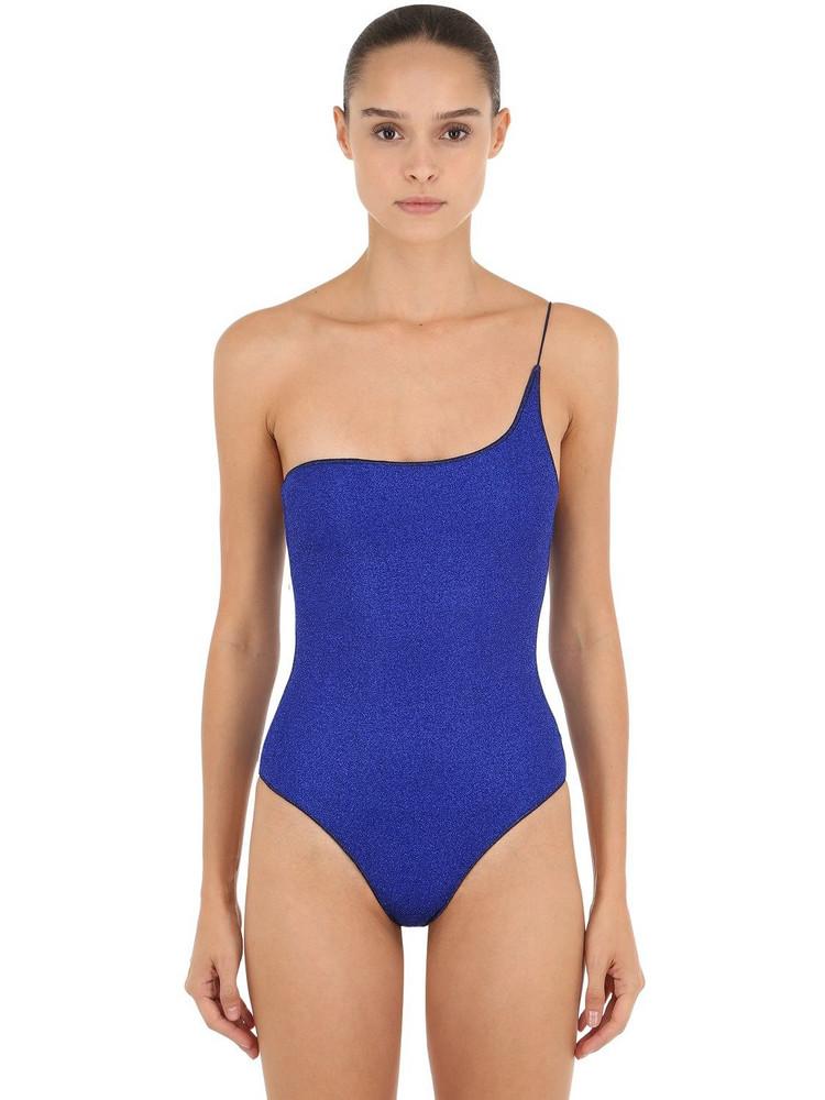 OSÉREE SWIMWEAR One Shoulder Lurex & Lycra Swimsuit in blue