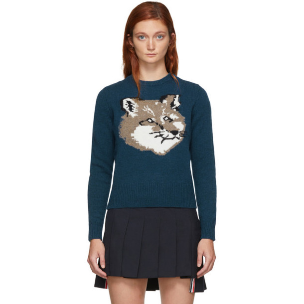 Maison Kitsune Blue Wool Fox Head Pullover