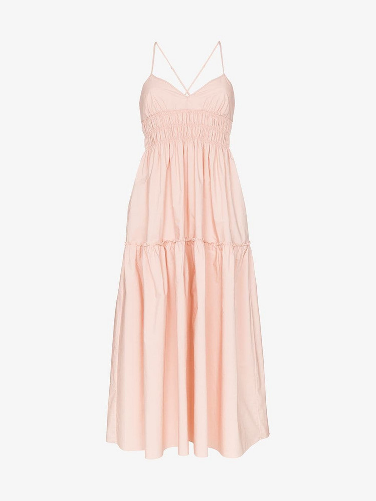 Three Graces Emma cross back strappy midi dress in pink