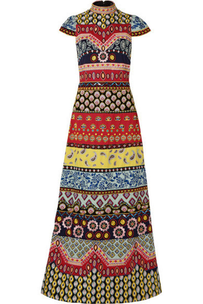 Alice + Olivia Alice Olivia - Arwen Open-back Embellished Embroidered Cotton Maxi Dress in red