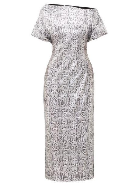 Christopher Kane - Asymmetric Snake-print Sequinned Dress - Womens - Silver