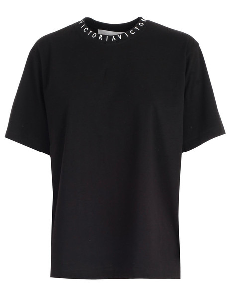 Victoria Victoria Beckham T-shirt W/logo On Neck in black / white