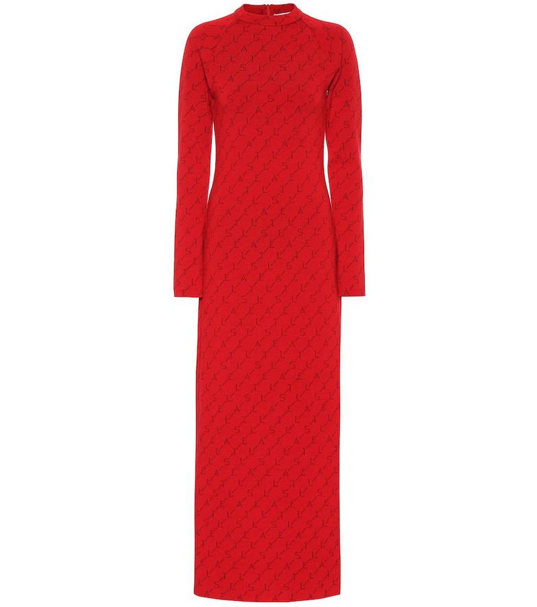 Stella McCartney Logo stretch wool dress in red