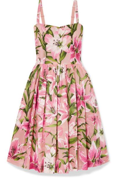 Dolce & Gabbana - Floral-print Organza Dress - Baby pink