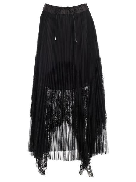 Sacai Skirt Plisse W/lace in black