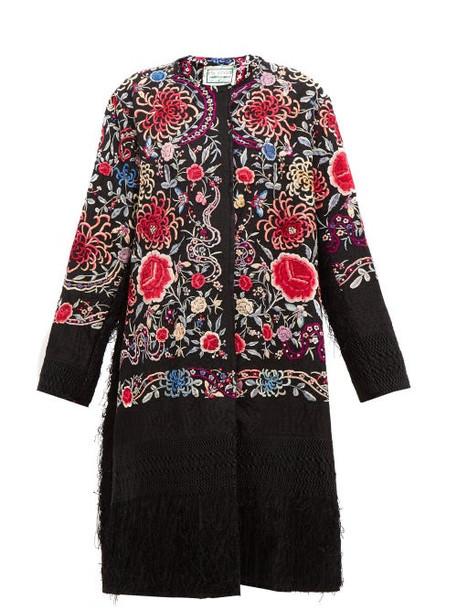 By Walid - Tanita Piano Shawl Floral-embroidered Silk Coat - Womens - Black Multi
