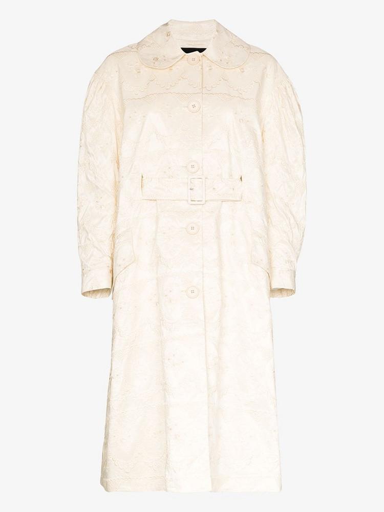 Simone Rocha flared brocade duster coat in white