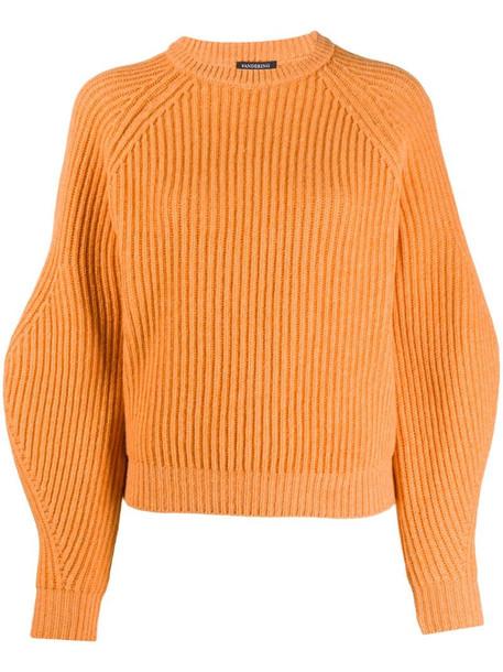 Wandering ribbed-knit balloon jumper in orange