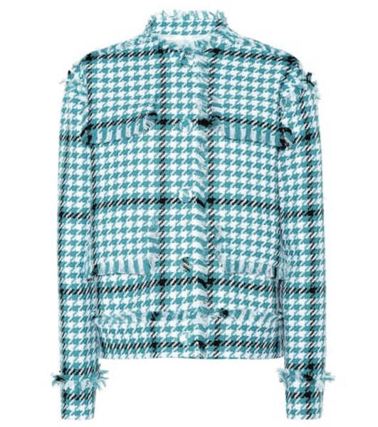 MSGM Houndstooth cotton-blend jacket in blue