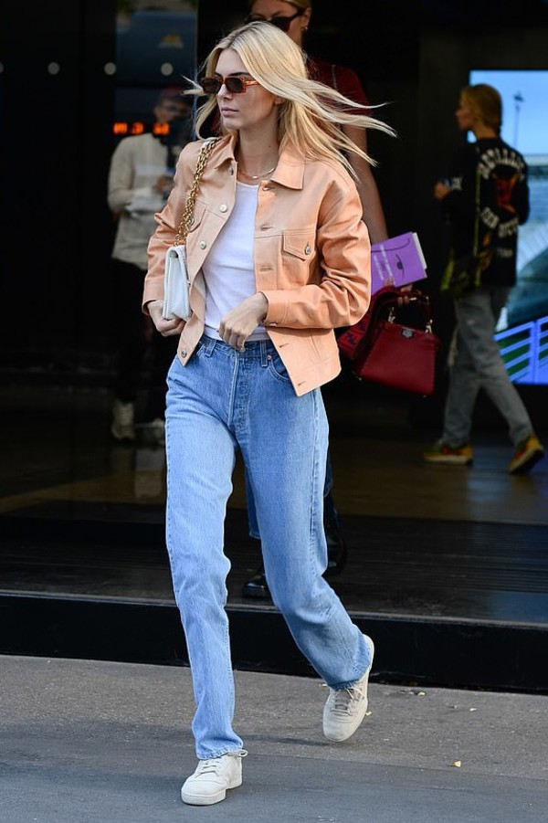 jacket neutral leather leather jacket kendall jenner kardashians celebrity model off-duty fashion week