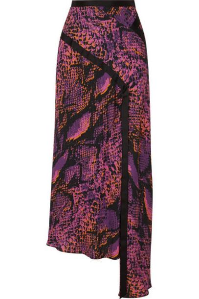 House of Holland - Asymmetric Snake-print Crepe De Chine Maxi Skirt - Pink