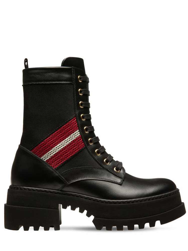 BALLY 40mm Giois Leather & Fabric Combat Boots in black