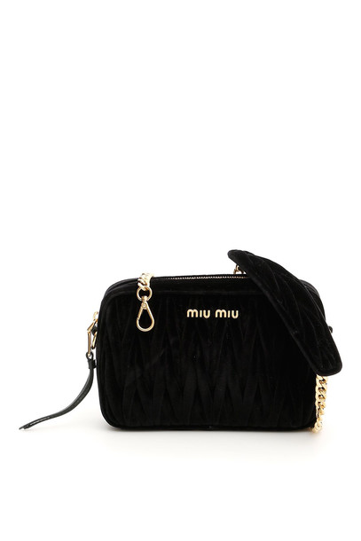 Miu Miu Matelassé Velvet Bag in black