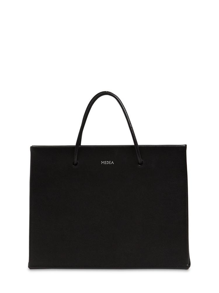 MEDEA Hanna Leather Top Handle Bag in black