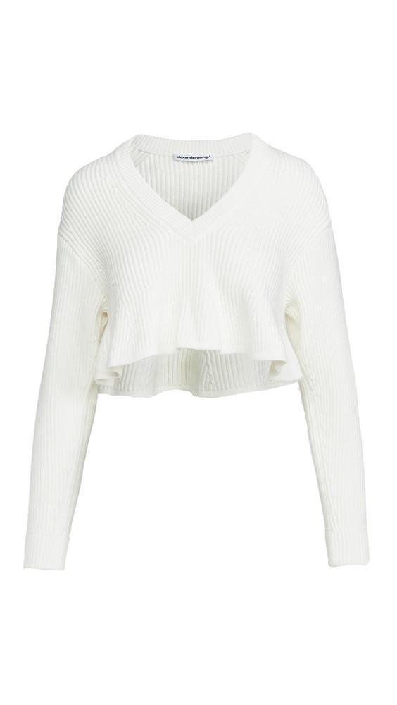 alexanderwang.t Cropped V Neck Pullover in white