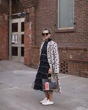 dress,midi dress,pleated dress,white sneakers,polka dots,long coat,transparent  bag