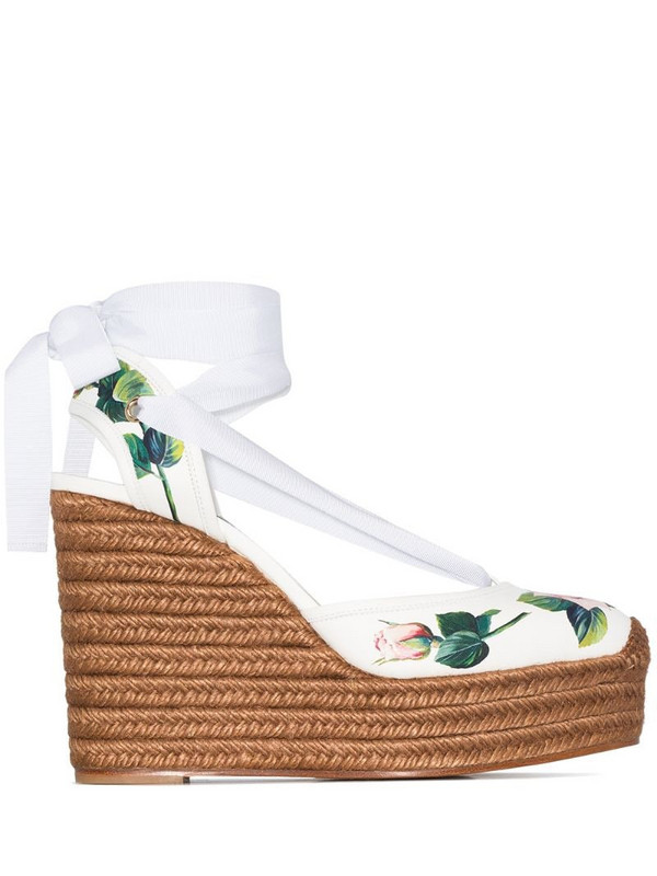 Dolce & Gabbana 130mm rose-print leather espadrilles in white