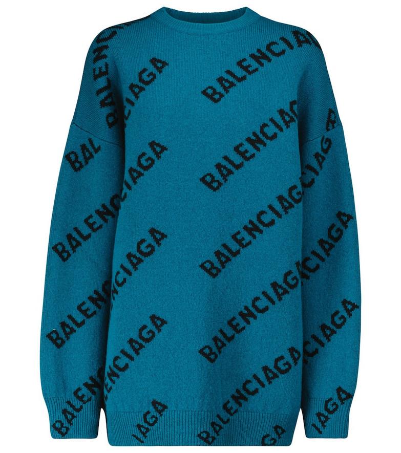 Balenciaga Logo wool-blend oversized sweater in blue