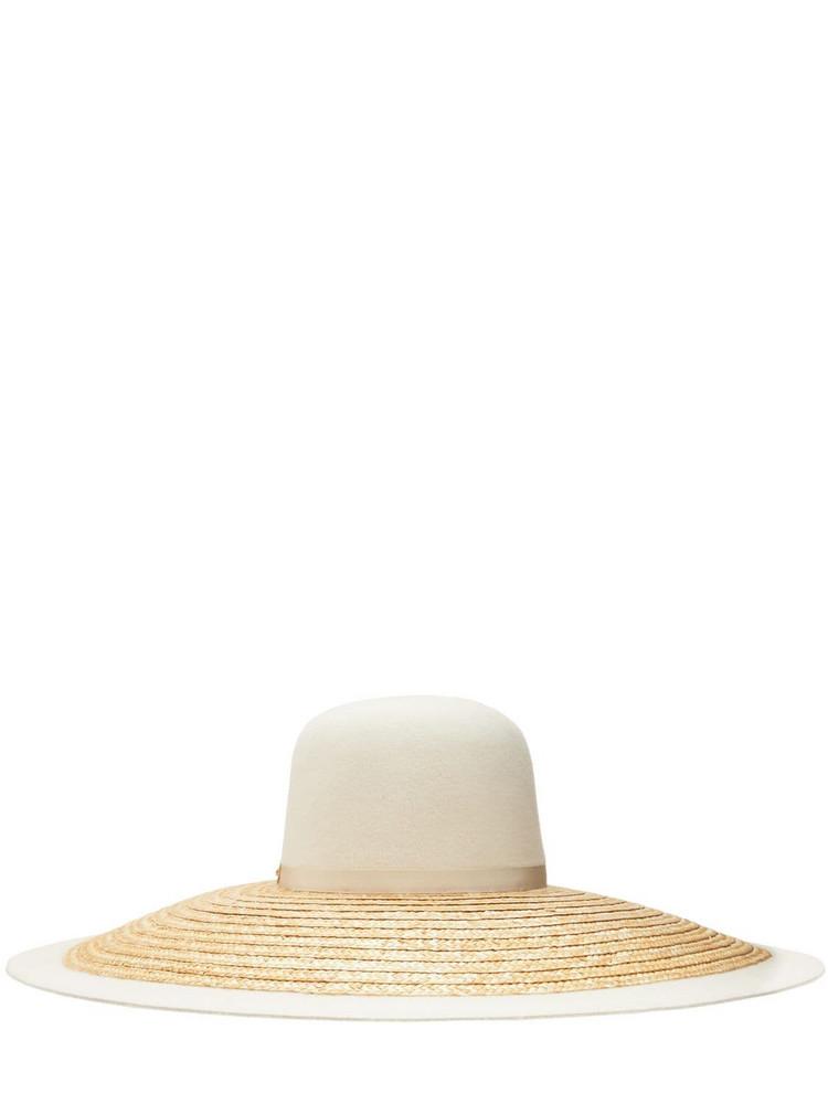 GUCCI Felt Fur & Straw Wide Brim Hat in white / beige
