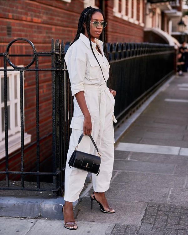 jumpsuit long sleeves sandal heels black bag