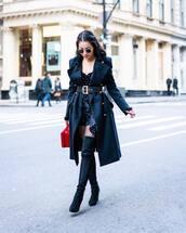 coat,long coat,black coat,over the knee boots,suede boots,black boots,heel boots,handbag,velvet top,black shorts,black belt
