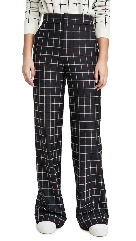 alice + olivia alice + olivia Dylan High Waist Cuff Pants in black / white