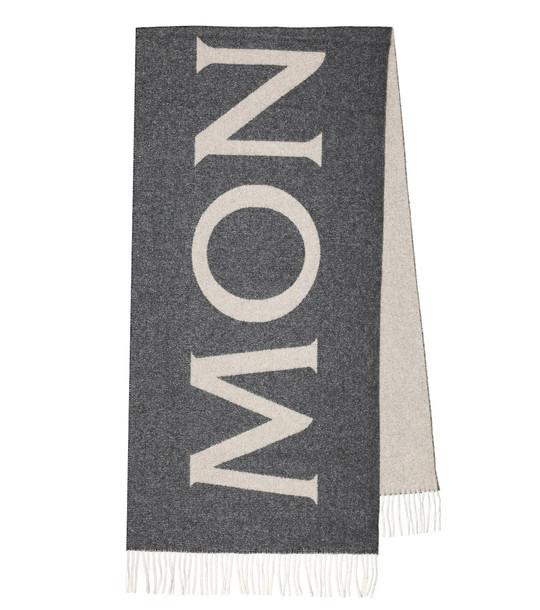Moncler Logo wool-blend jacquard scarf in grey