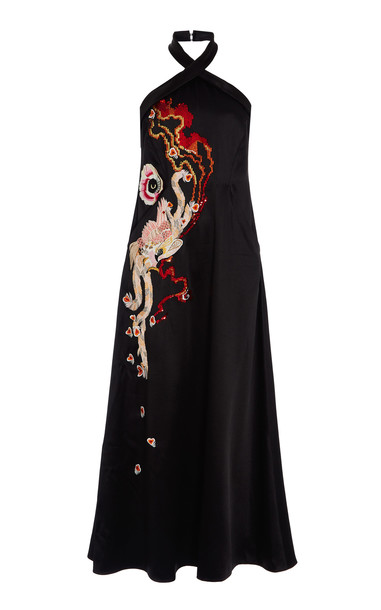 Temperley London Firedbird Halter Dress Size: 12 in black