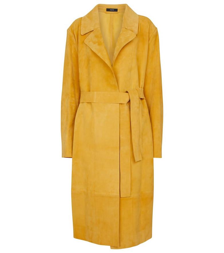 Joseph June belted suede wrap coat in yellow