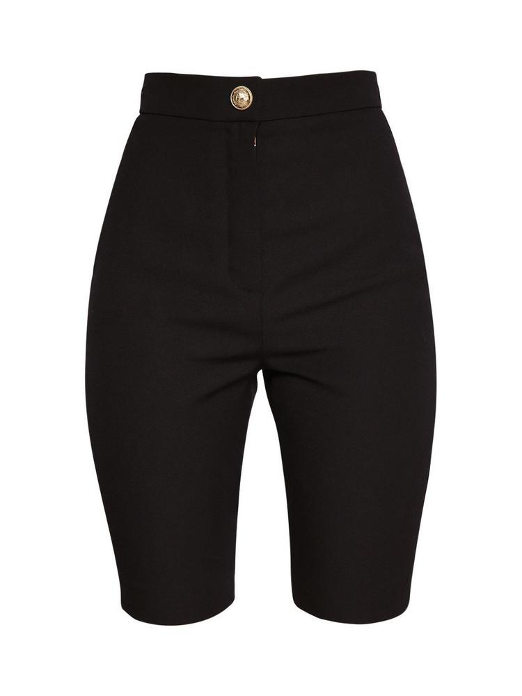 BALMAIN Wool Grain De Poudre Cycling Shorts in black