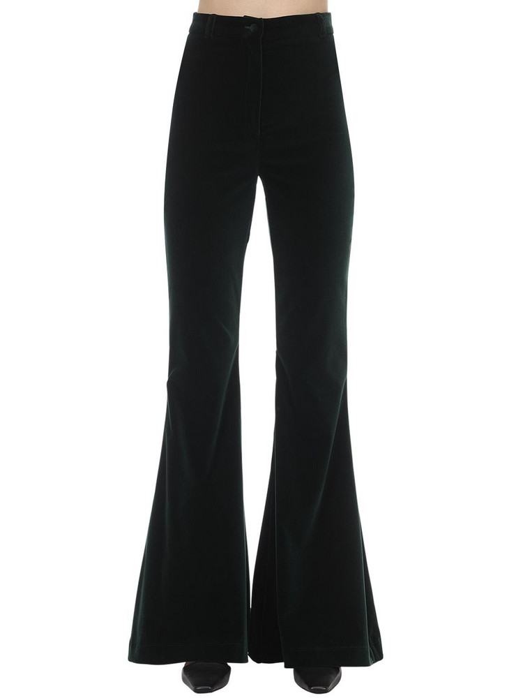 HEBE STUDIO Bianca Flared Velvet Pants in green