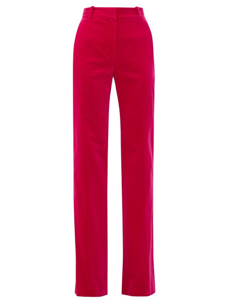 Bella Freud - David Cotton-velvet Wide-leg Trousers - Womens - Pink