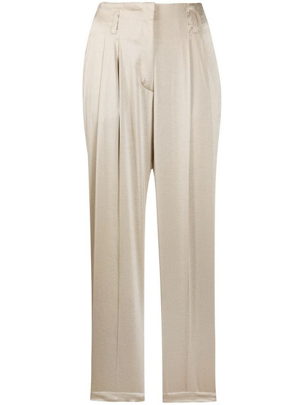 Luisa Cerano straight relaxed fit trousers in neutrals