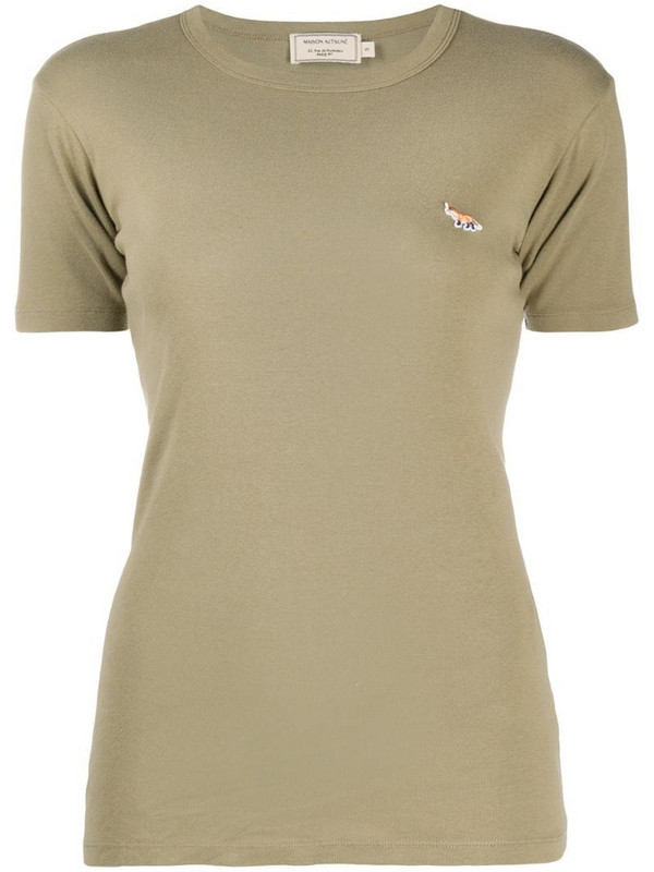Maison Kitsuné logo embroidered slim fit T-shirt in green