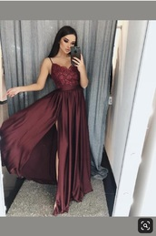 dress,red dress,red,long,long dress,lace dress,lace,maxi dress,formal dress,prom dress,prom,dark,satin,silk,spaghetti strap,vneck dress,boobs,slit dress,fit and flare dress,a-line