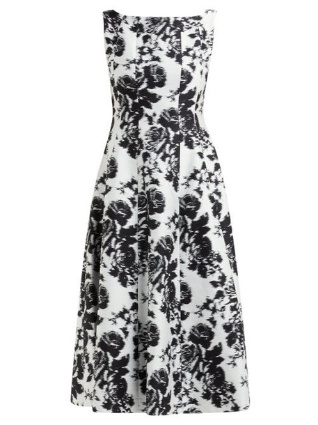Erdem - Kinsey Rosechine Jacquard Cotton Blend Midi Dress - Womens - Black White