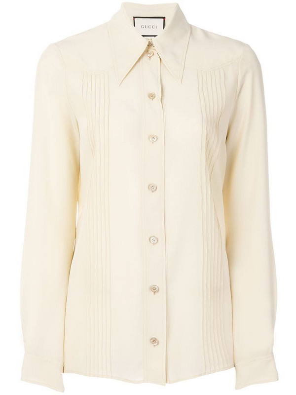 Gucci pointed collar shirt in neutrals
