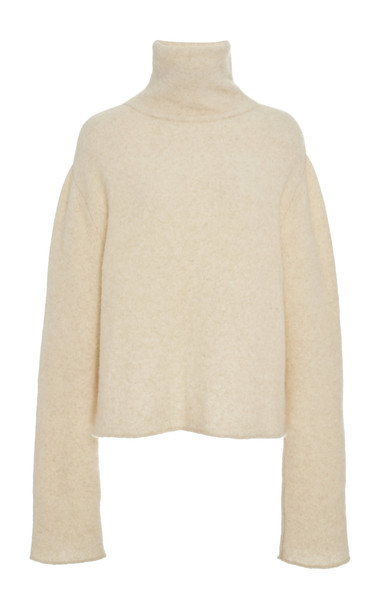 Sally LaPointe Alpaca-Cashmere Blend Turtleneck Sweater in neutral