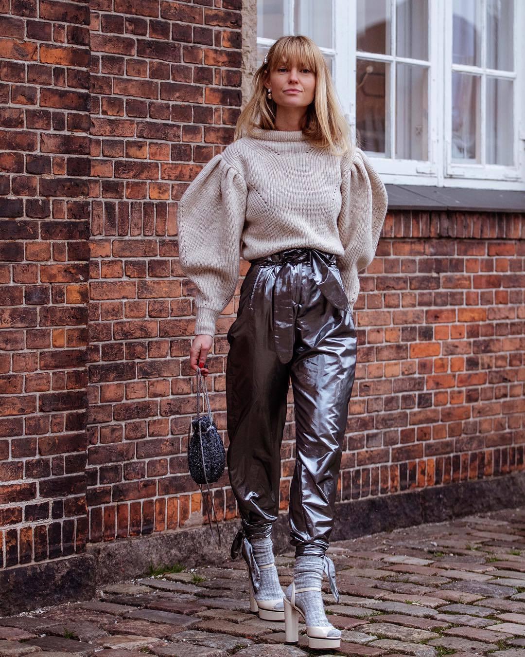 pants high waisted pants high heel sandals socks handbag oversized sweater knitted sweater puffed sleeves