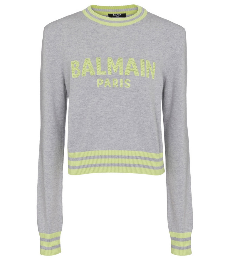 Balmain Logo wool and cashmere-blend sweater in grey