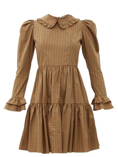 Batsheva - Lucy Checked Cotton Mini Dress - Womens - Brown