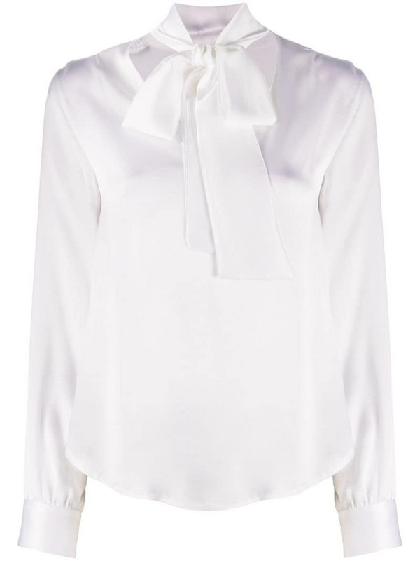 Nude pussybow-neck blouse in white