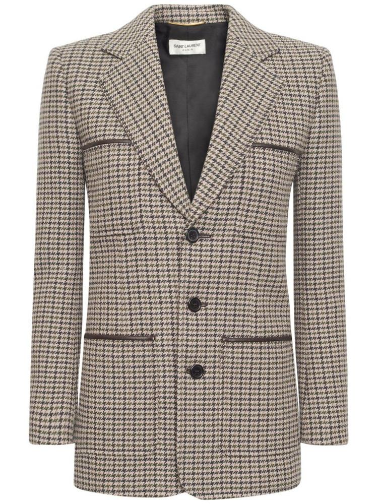 SAINT LAURENT Houndstooth Print Wool Blend Jacket in noir