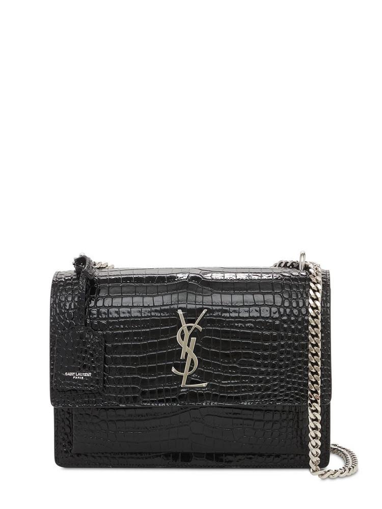 SAINT LAURENT Medium Sunset Croc Embossed Leather Bag in black