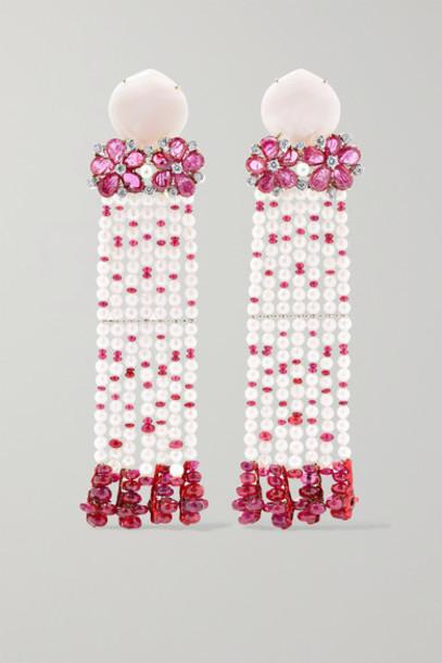 Bina Goenka - 18-karat Gold Multi-stone Earrings - Pink