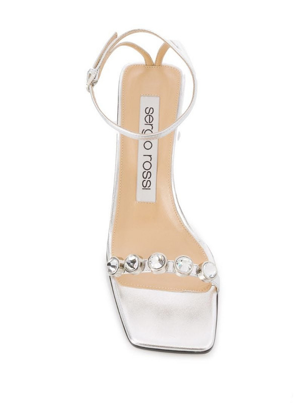 Sergio Rossi faux-gem embellished metallic sandals in silver