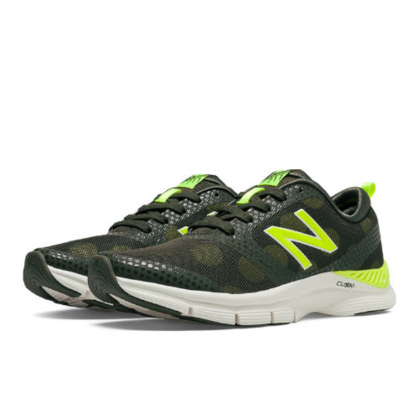 New Balance 711 Print Women's Gym Trainers Shoes - Dark Green, Hi-Lite (WX711HD)